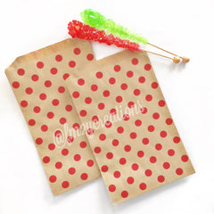POLKA DOT FAVOR BAGS: KRAFT w/ RED - From Me 2 You Creations