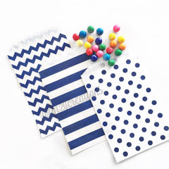 STRIPE FAVOR BAGS: NAVY BLUE - From Me 2 You Creations
