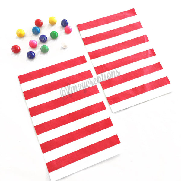 STRIPE FAVOR BAGS: RED