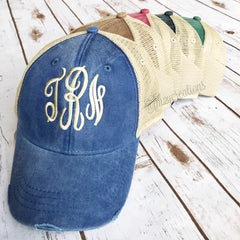 Monogram Baseball Cap | Destressed - From Me 2 You Creations
