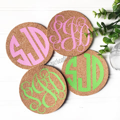 Monogram Cork Coasters - From Me 2 You Creations