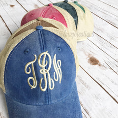 Monogram Baseball Cap | Destressed