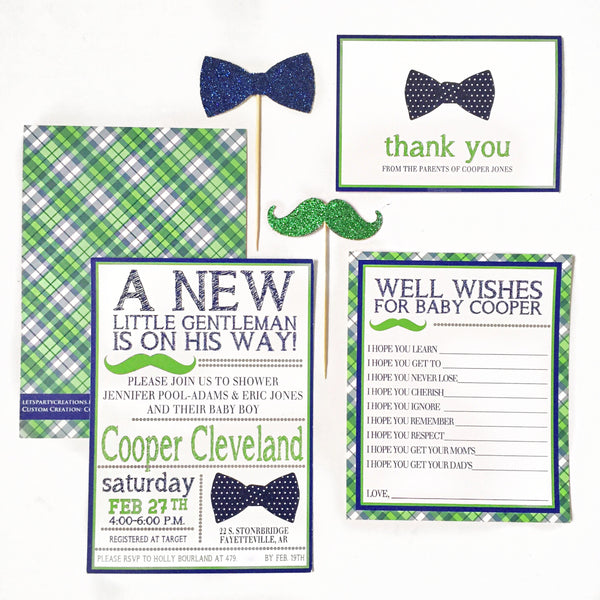INVITATION | BOW TIE & MUSTACHE BABY SHOWER