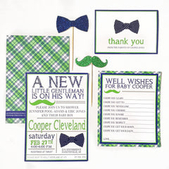 INVITATION | BOW TIE & MUSTACHE BABY SHOWER - From Me 2 You Creations