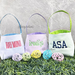Monogram Easter Basket | Seesucker - From Me 2 You Creations