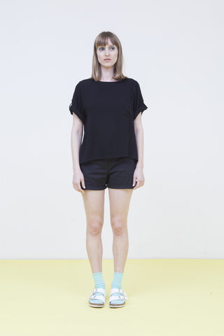 Black sheer blouse with front pocket