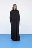 Black long sleeves cotton maxi dress