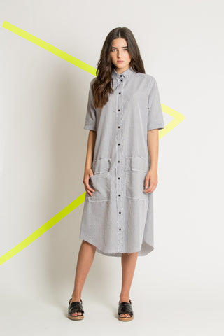 White botton down spring dress