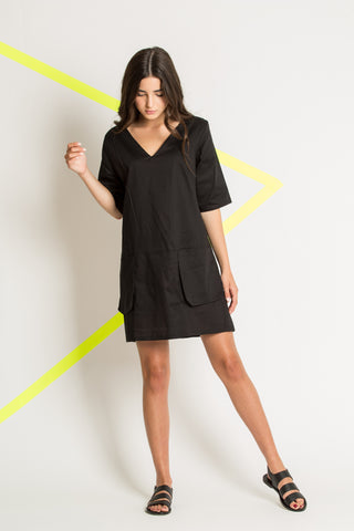 Short black dress with large pockets