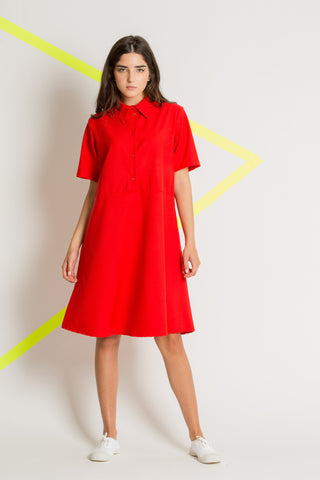 Red spring button down dress
