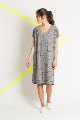 Gray knitted cotton dress