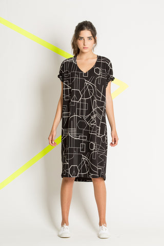 Black printed cotton dress