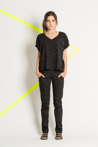Black knitted cotton shirt