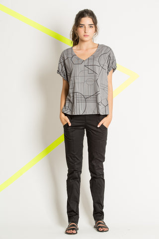 Gray knitted cotton shirt