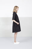 Oversized Black Gathered Dress
