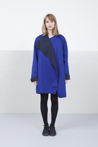 Royal Blue Scuba two sides coat for women