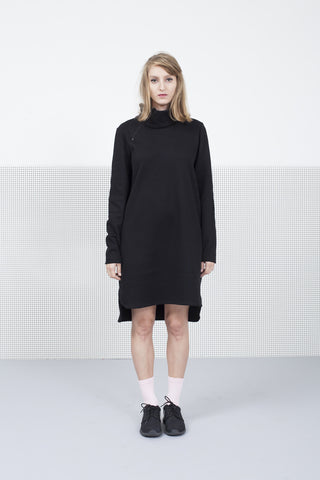 Black sweater Dress with Zipper