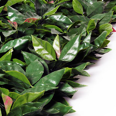 Artificial Red Laurel Greenery Hedge