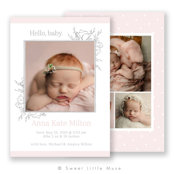 Adorably Sweet Birth Announcement Template