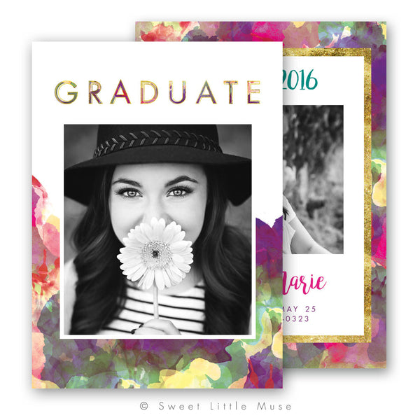 Boho Sea Senior Graduation Announcement Template