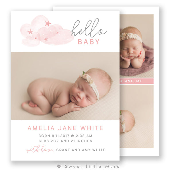 Cloudy Birth Announcement Template