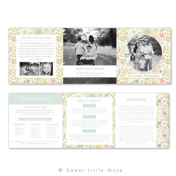 Floral Pattern 5x5 Accordian Marketing Template - Trifold Brochure