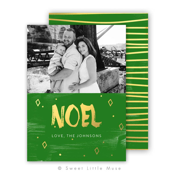 Noel Gold Christmas Card Template