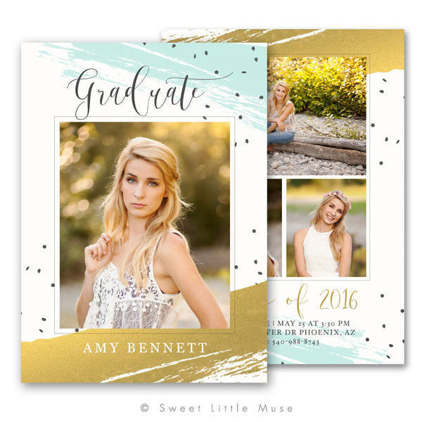 Gold Watercolor Senior Graduation Announcement Template