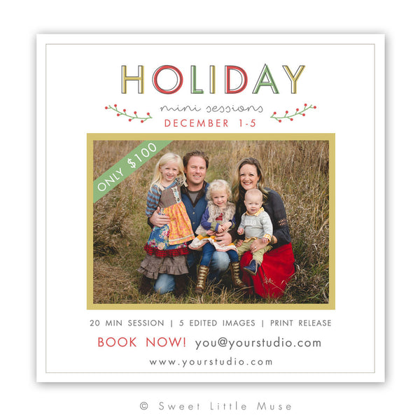 Holiday Mini Session Template 5x5 - Christmas