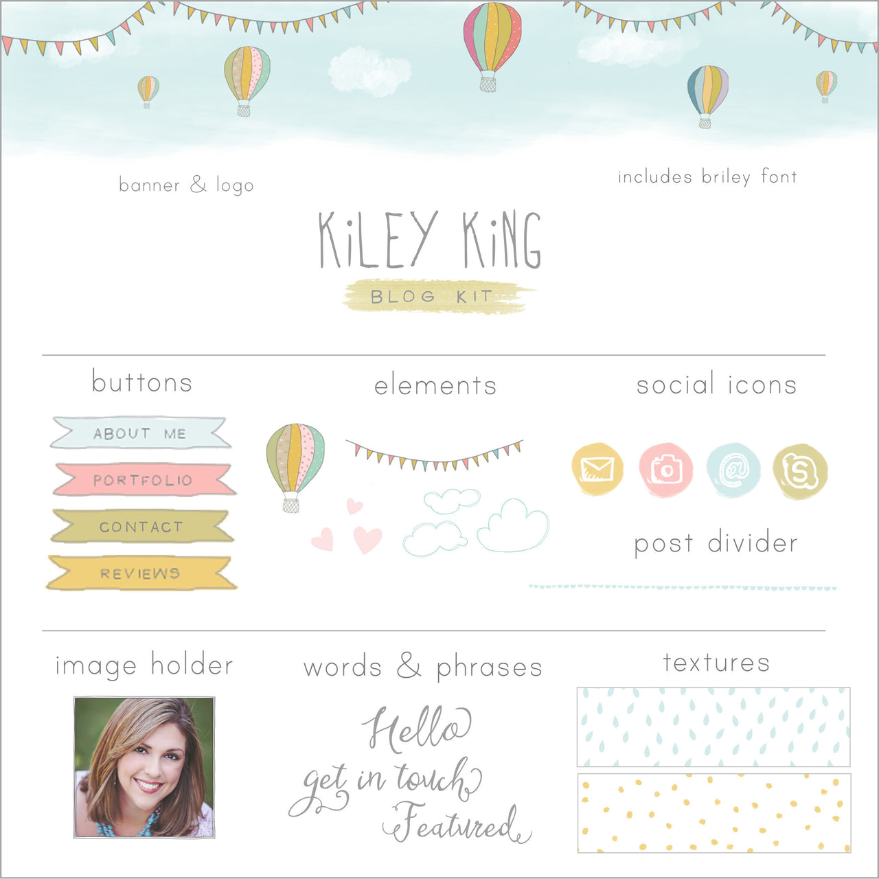 Hot Air Balloon Blog Kit & Logo
