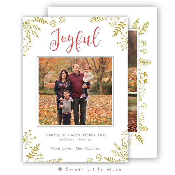 Joyful Leaves Christmas Card Template