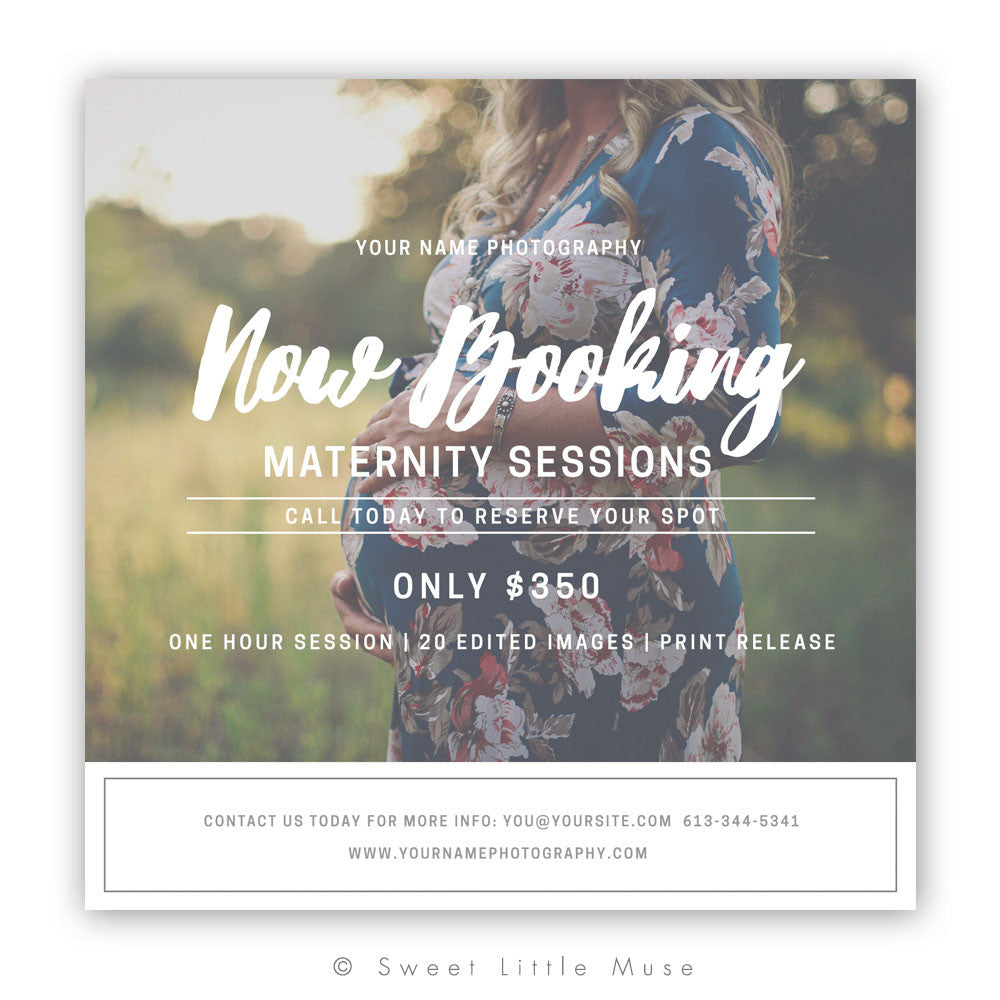Modern Maternity Mini Session Template 5x5