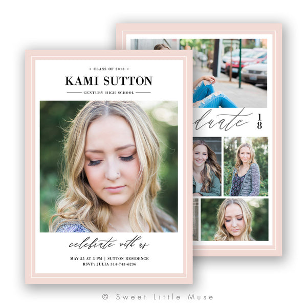 Blush Senior Graduation Announcement Template