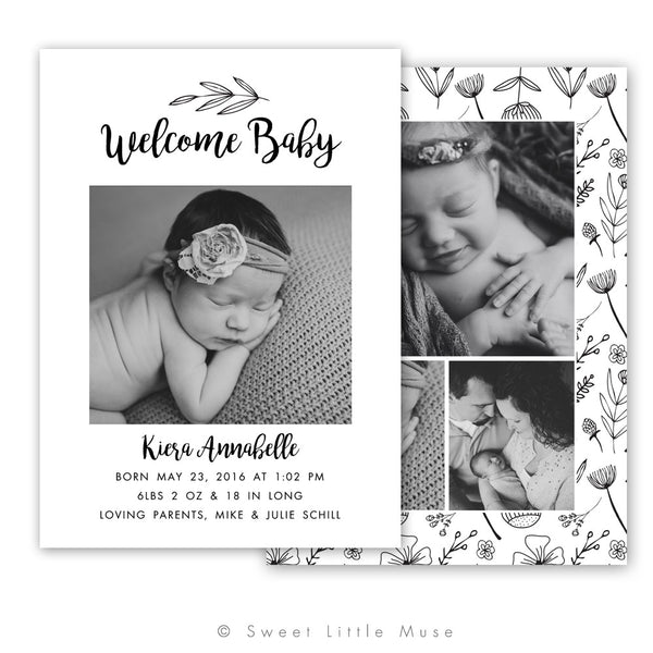 Black and White Floral Newborn Birth Announcement Template