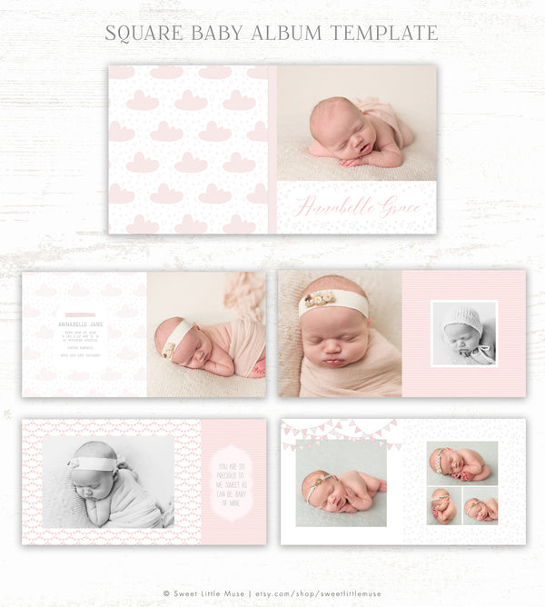 Sleepy Girl Album Template - Baby Photo Book Template