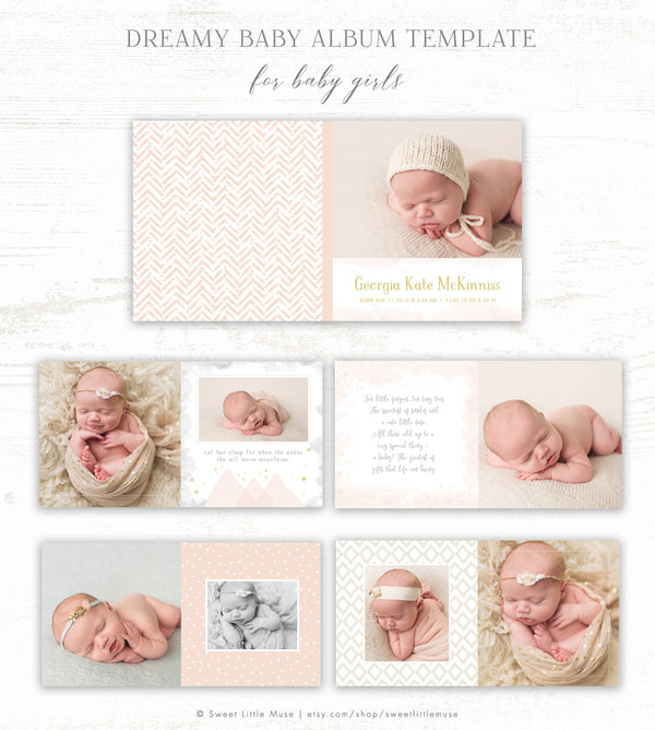 Girl Album Template - Baby Photo Book Template