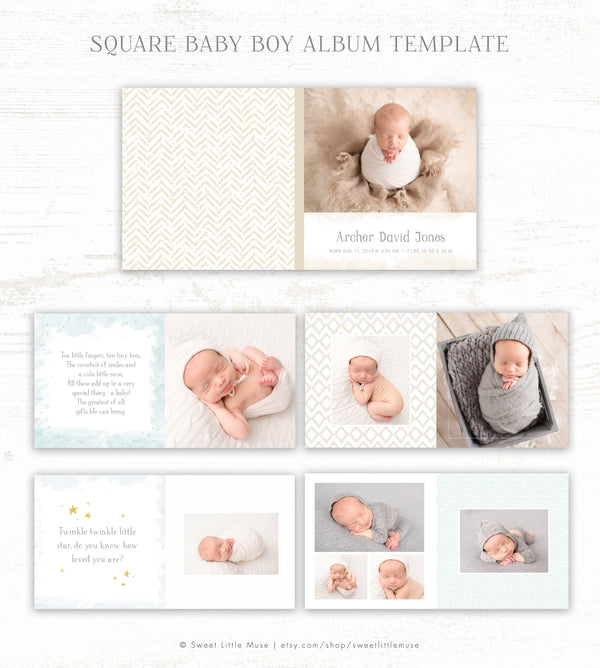 Boy Album Template - Baby Photo Book Template