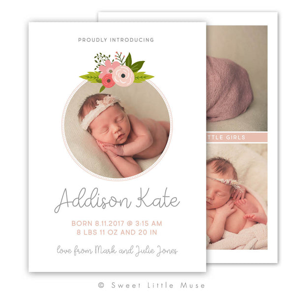 Floral Girls Birth Announcement