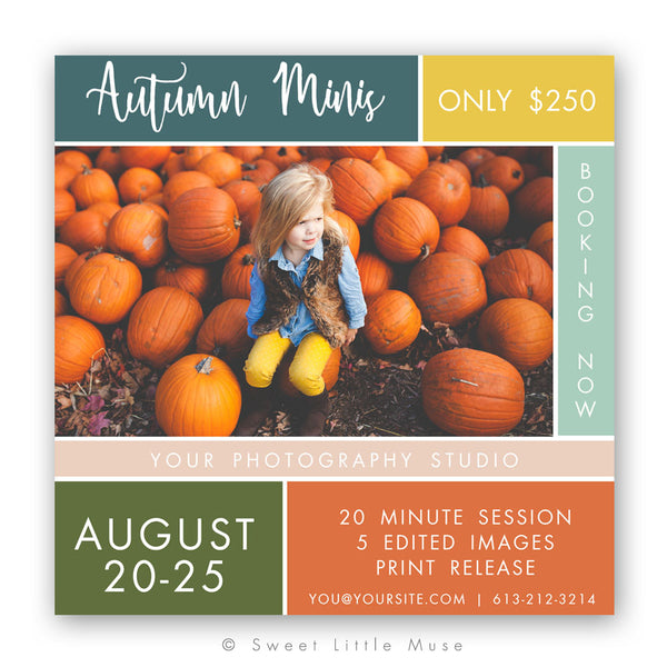 Autumn Colorblock Template - Fall Mini Session Template 5x5