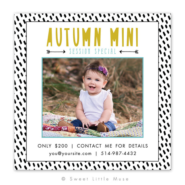 Black and White Fall Mini Session Template 5x5