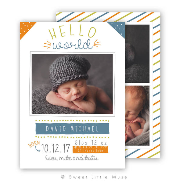 Boy Colorful Birth Announcement Template