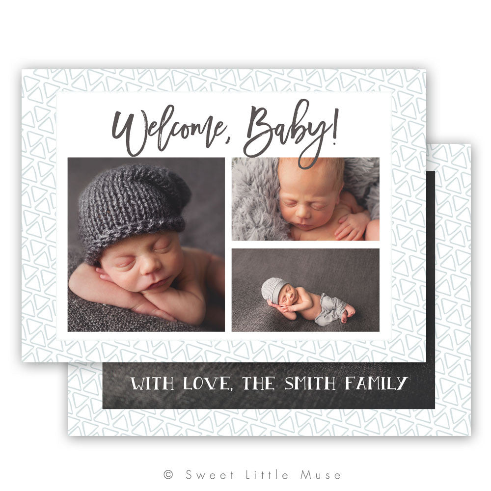 Modern Boy Birth Announcement Template