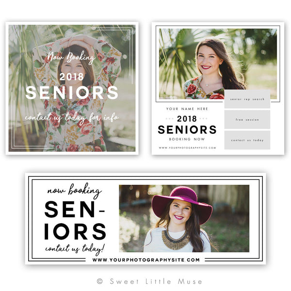 Chic Senior Marketing Mini Session Template Bundle