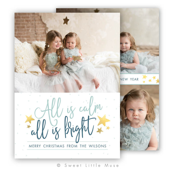 Gold Stars Christmas Card Template