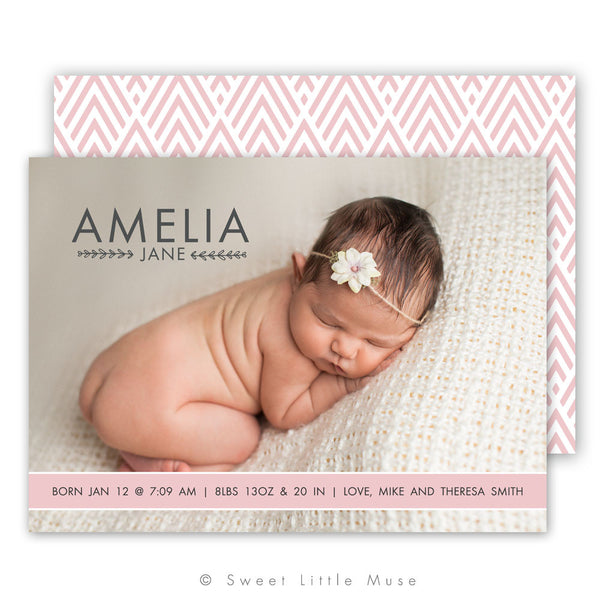 Chic Girls Birth Announcement Template