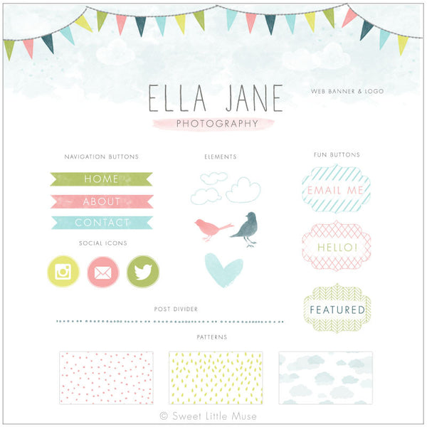 Bunting Watercolor Blog Kit & Logo