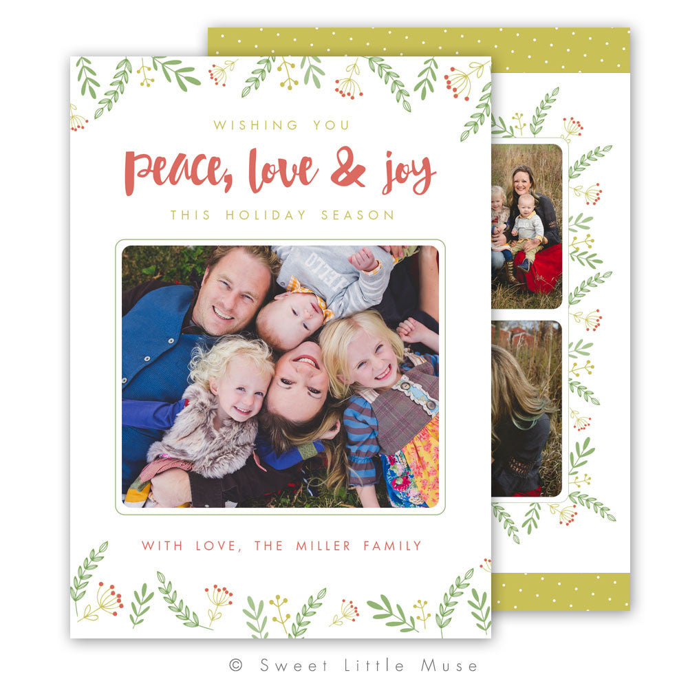 Floral Holiday Christmas Card Template