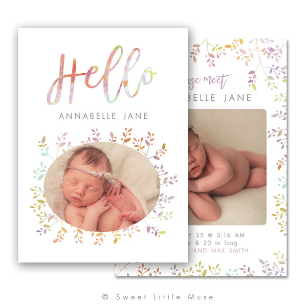 Floral Whimsy Newborn Birth Announcement Template