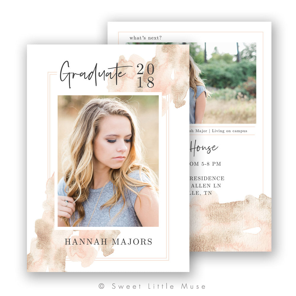 Golden Tones Watercolor Senior Graduation Announcement