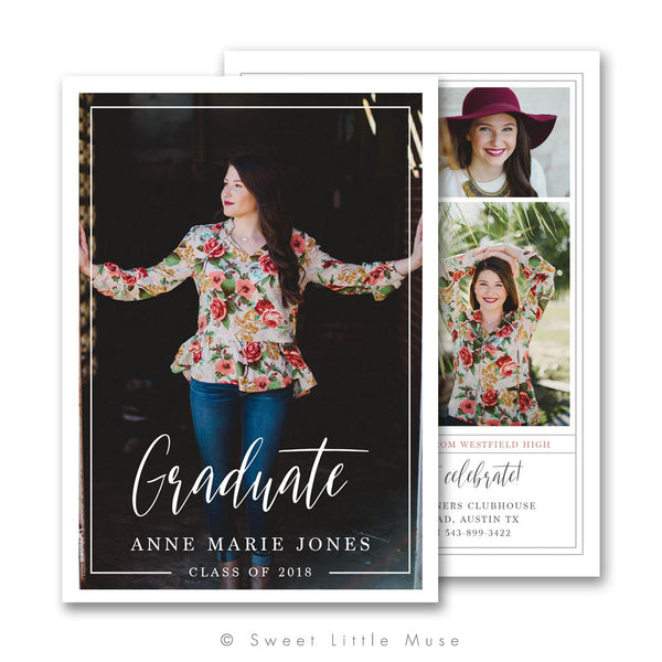 Clean Senior Graduation Announcement Template